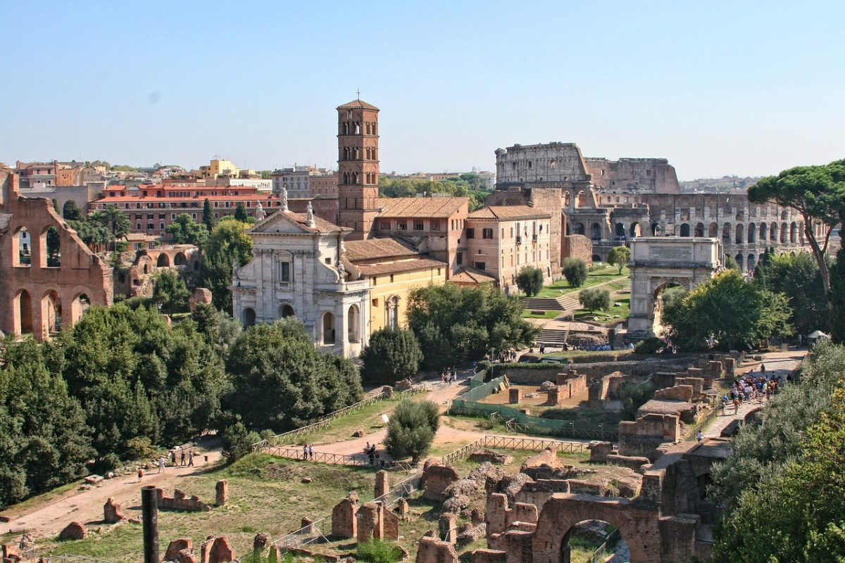 View of the Roman Forum in Italy.