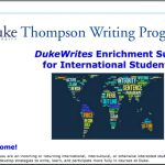 Thompson Writing Program (TWP) DukeWrites Enrichment Suite for International Students (ESIS)