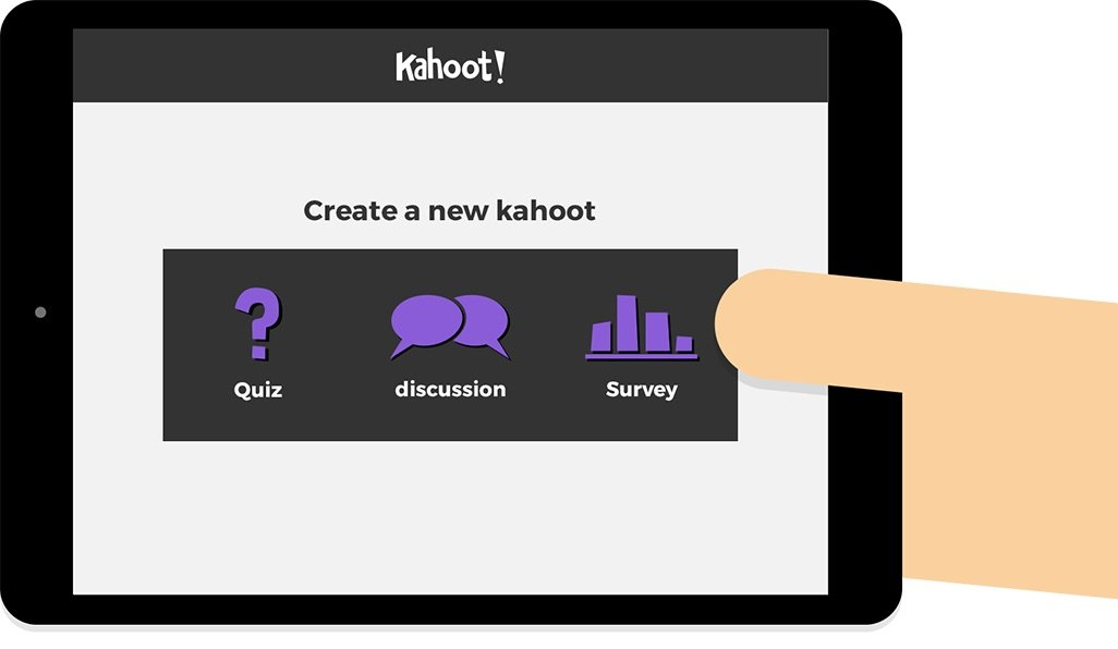 Kahoot create screen on tablet