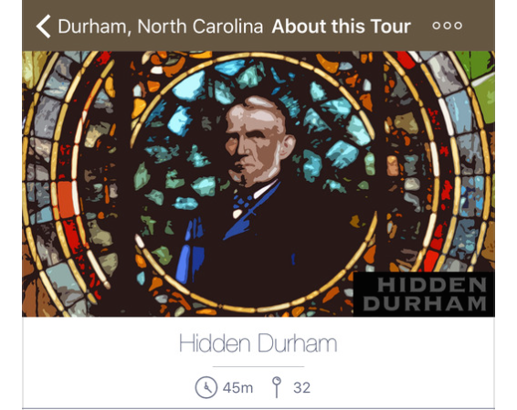 screenshot from hidden durham tour featuring stained glass image