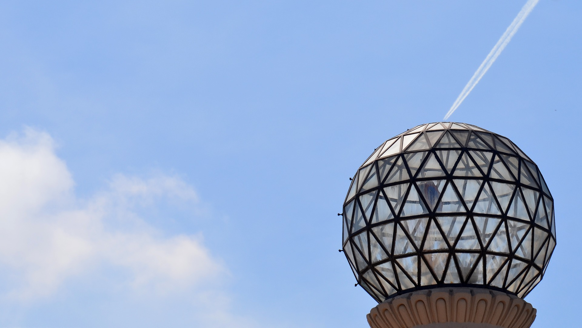 geodesic dome and sky