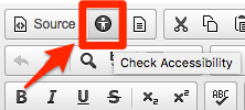 "A screenshot of the CK Editor window in Sakai, with the location of the ""accessibility checker"" button."
