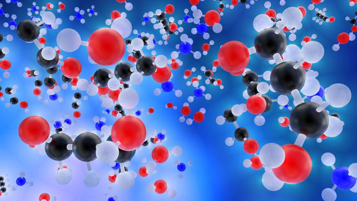 Molecules in red and blue