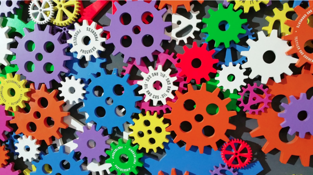 a pile of colorful gears