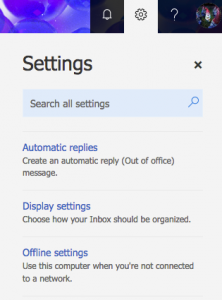 settings in Outlook