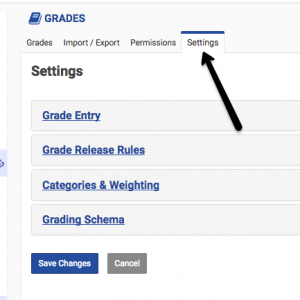 sakai gradebook settings