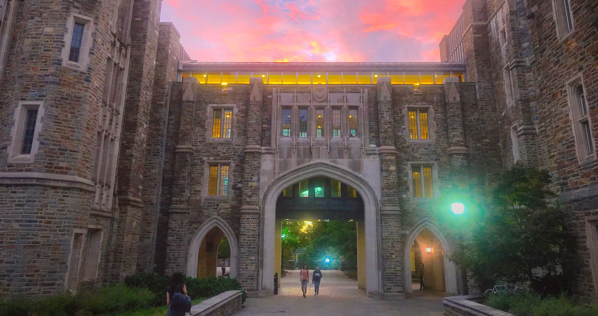 sunset over Perkins library