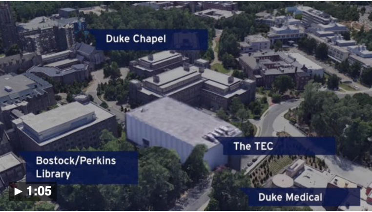 Aerial view of Duke campus with labeled buildings