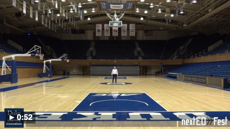 Image of Matthew Rascoff on the basketball court at Cameron Indoor Stadium
