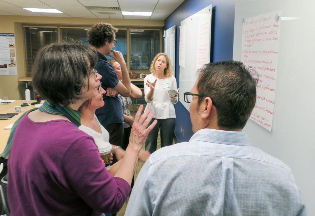 Team discussing at a white board.