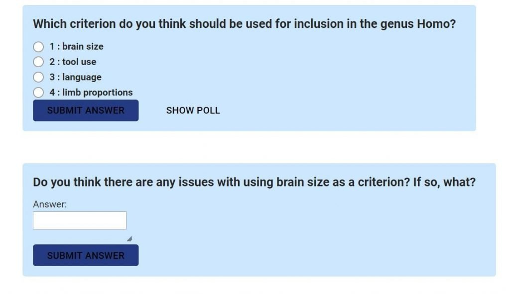 Example poll questions from Lesson on genus homo