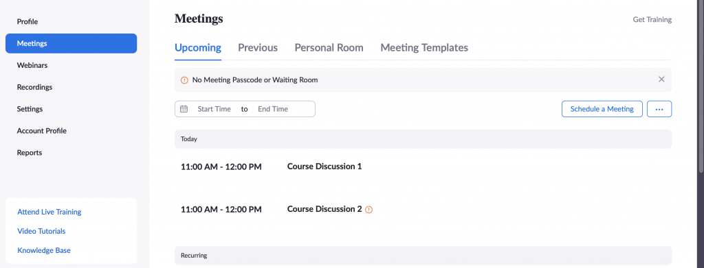 Zoom Meetings Screenshot Example