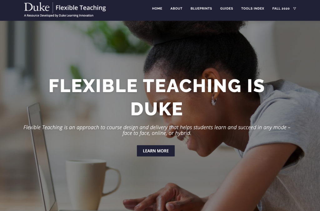 Screen capture of the Duke Flexible Teaching website.
