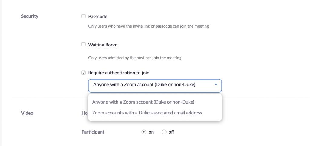 Zoom authentication screenshot