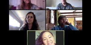 Screenshot of five people in a Zoom meeting.
