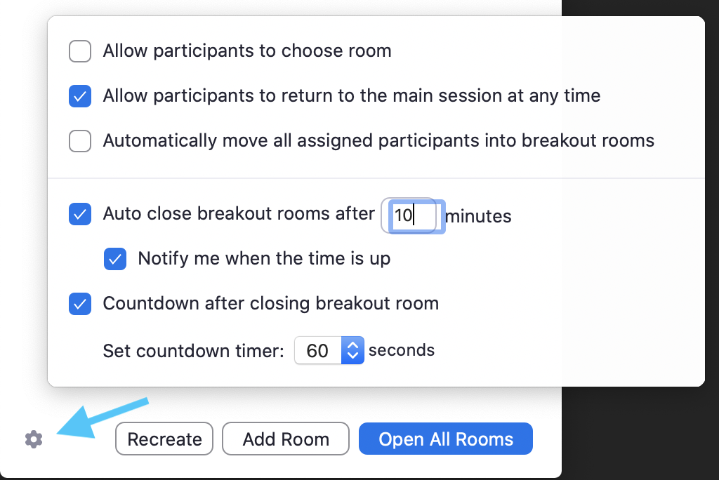 Screenshot of Zoom Breakout room settings