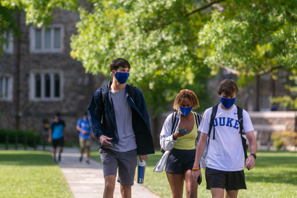 Duke students wearing masks