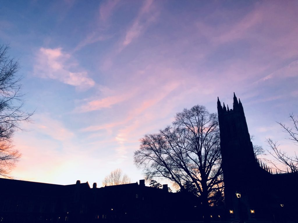 Duke chapel at sunset.