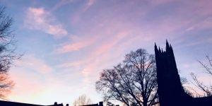 Duke chapel at sunset