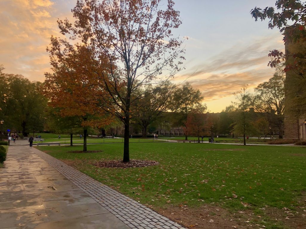 East campus after a rainy fall day at sunset.