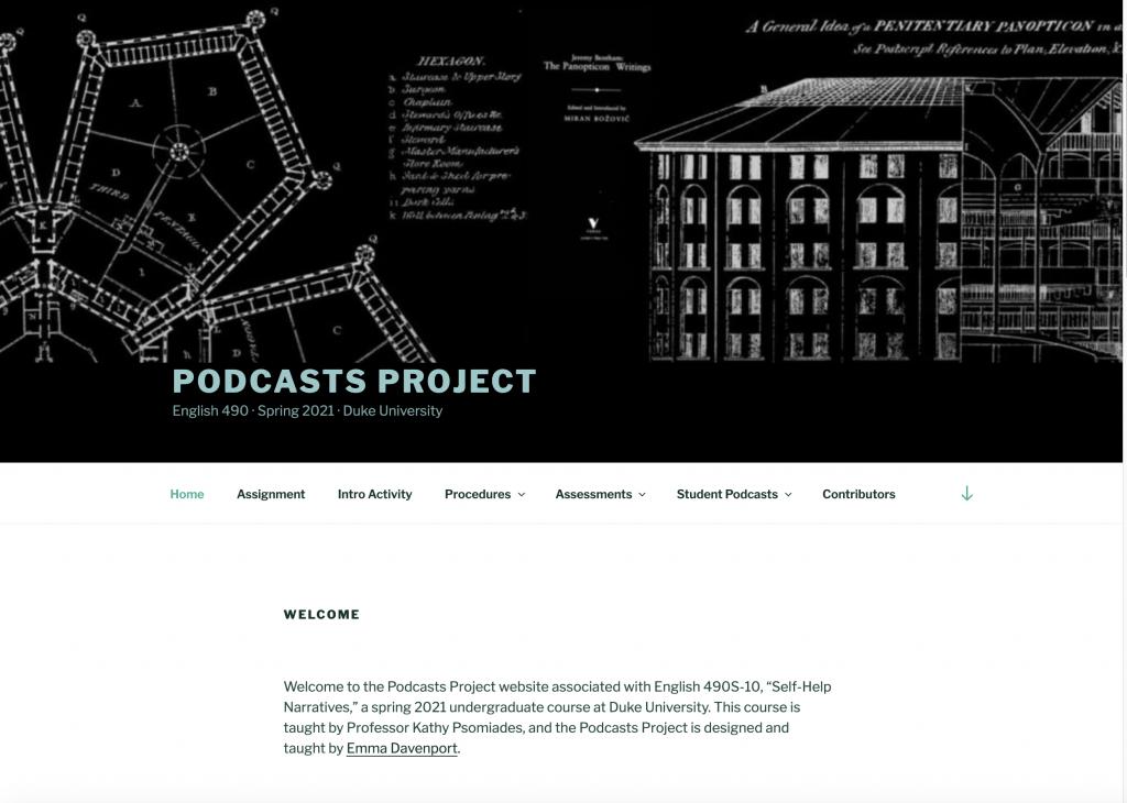 Podcast pedagogy website homepage