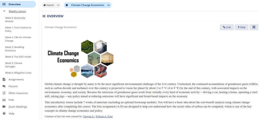 Sakai Climate change Course screenshot
